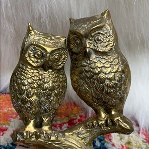 Vintage MCM Brass Owls Pair Distressed Patina
